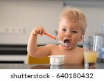 adorable one year old baby boy... | Shutterstock . vector #640180432