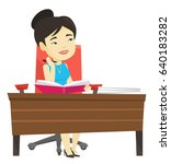 young asian student sitting at... | Shutterstock .eps vector #640183282