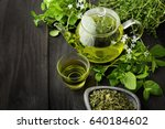 healthy green tea cup with tea