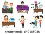 caucasian woman paying wireless ...   Shutterstock .eps vector #640185088