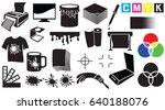 printing icons set   palette