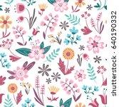 trendy seamless floral pattern. ... | Shutterstock .eps vector #640190332