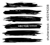 big black long ink strokes...   Shutterstock .eps vector #640194208