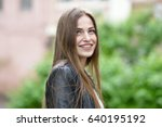 young attractive woman with... | Shutterstock . vector #640195192