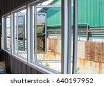 white  aluminum windows frame... | Shutterstock . vector #640197952