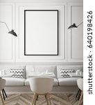 mock up poster frame in hipster ... | Shutterstock . vector #640198426