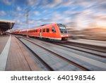 red modern high speed train in... | Shutterstock . vector #640198546
