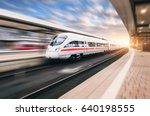 white modern high speed train... | Shutterstock . vector #640198555