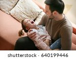 father with his daughter... | Shutterstock . vector #640199446