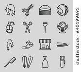 hair icons set. set of 16 hair... | Shutterstock .eps vector #640199692