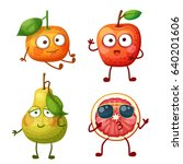 funny fruit characters isolated ... | Shutterstock .eps vector #640201606