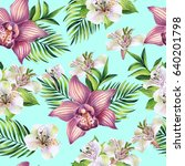 seamless pattern with tropical... | Shutterstock . vector #640201798