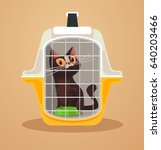 cat transport box. carrying... | Shutterstock .eps vector #640203466