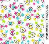 doodles cute seamless pattern.... | Shutterstock .eps vector #640209202