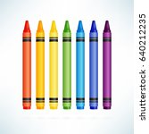 crayons. colorful wax pencils... | Shutterstock .eps vector #640212235