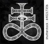 ornate satanic cross with evil... | Shutterstock .eps vector #640217356