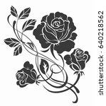 flower motif sketch for design  | Shutterstock .eps vector #640218562