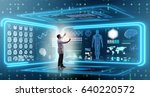 man doctor in futuristic... | Shutterstock . vector #640220572
