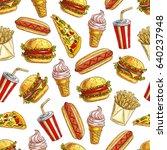 Fast Food Pattern Of Sandwich ...