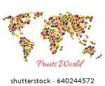 fruits world map of vector... | Shutterstock .eps vector #640244572