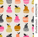 seamless pattern with apples ... | Shutterstock .eps vector #640246198