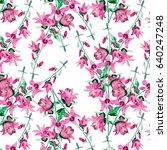 bell flowers  watercolor... | Shutterstock . vector #640247248
