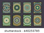 collection retro cards. ethnic... | Shutterstock .eps vector #640253785