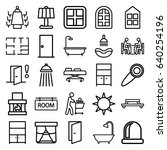 room icons set. set of 25 room... | Shutterstock .eps vector #640254196