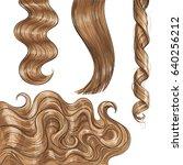 set of shiny long blond  fair... | Shutterstock .eps vector #640256212