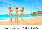 three woman in bikini on beach  ... | Shutterstock .eps vector #640270735