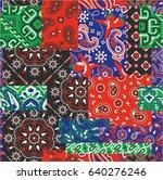 bandanna kerchief fabric... | Shutterstock .eps vector #640276246
