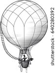 Retro balloonist flies in a balloon and watches the surroundings in a large telescope