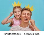 funny family on a background of ... | Shutterstock . vector #640281436