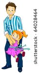 Illustration of a Cute Little Girl Clinging to Her Father - stock vector