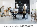 modern coworking space in black ... | Shutterstock . vector #640286428