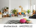 loft living room with colorful... | Shutterstock . vector #640290112