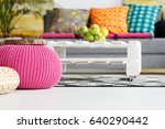 interior with pink pouf ... | Shutterstock . vector #640290442