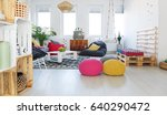 colorful retro living room with ... | Shutterstock . vector #640290472