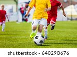 running youth soccer football... | Shutterstock . vector #640290676