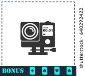 action camera icon flat. simple ... | Shutterstock .eps vector #640292422