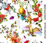 seamless pattern of parrots... | Shutterstock .eps vector #640294288