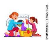 little girl kid helping her... | Shutterstock .eps vector #640297636