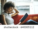 side view of young pretty woman ... | Shutterstock . vector #640305112