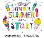 summer lettering and elements...   Shutterstock .eps vector #640306702