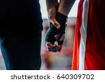 close up hand boxer and referee ... | Shutterstock . vector #640309702