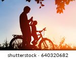 father and daughter riding bike ... | Shutterstock . vector #640320682