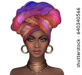 african american pretty girl.... | Shutterstock . vector #640340566