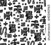 seamless maya pattern. black...   Shutterstock .eps vector #640340965