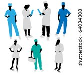 medical people silhouettes | Shutterstock .eps vector #64034308