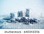 double exposure of coins and... | Shutterstock . vector #640343356